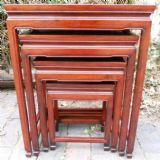 Oriental Hardwood Nest of Four Graduated Coffee Tables